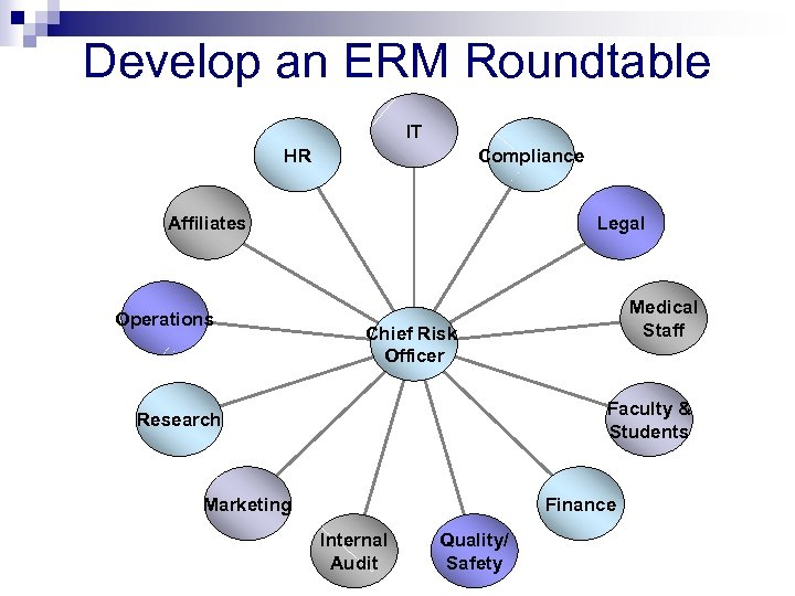Develop an ERM Roundtable IT HR Compliance Affiliates Operations Legal Medical Staff Chief Risk