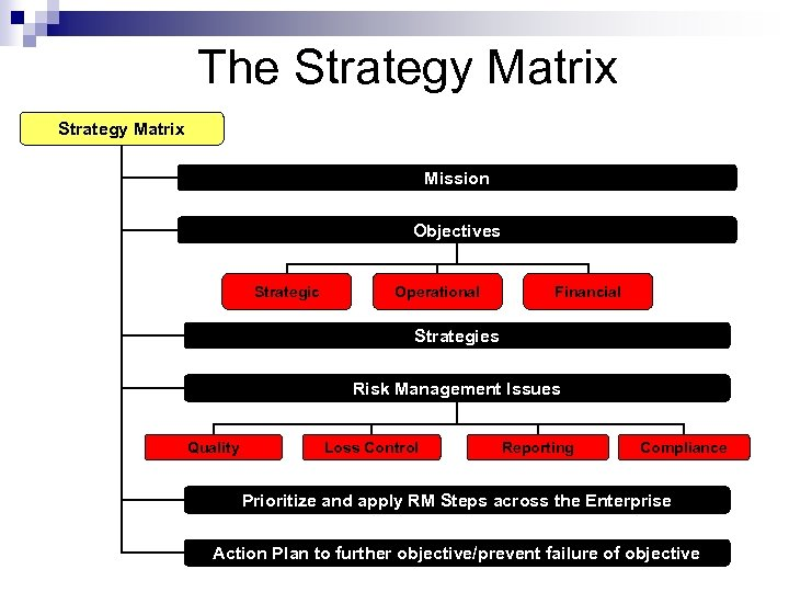 The Strategy Matrix Mission Objectives Strategic Operational Financial Strategies Risk Management Issues Quality Loss