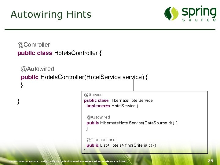 Autowiring Hints @Controller public class Hotels. Controller { @Autowired public Hotels. Controller(Hotel. Service service)