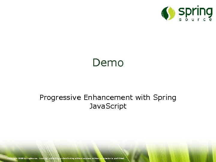 Demo Progressive Enhancement with Spring Java. Script Copyright 2008 Spring. Source. Copying, publishing or
