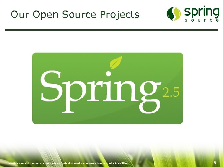 Our Open Source Projects Copyright 2008 Spring. Source. Copying, publishing or distributing without express