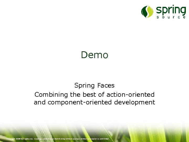 Demo Spring Faces Combining the best of action-oriented and component-oriented development Copyright 2008 Spring.