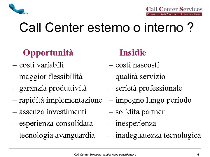 Call Center esterno o interno ? Opportunità Insidie – costi variabili – maggior flessibilità
