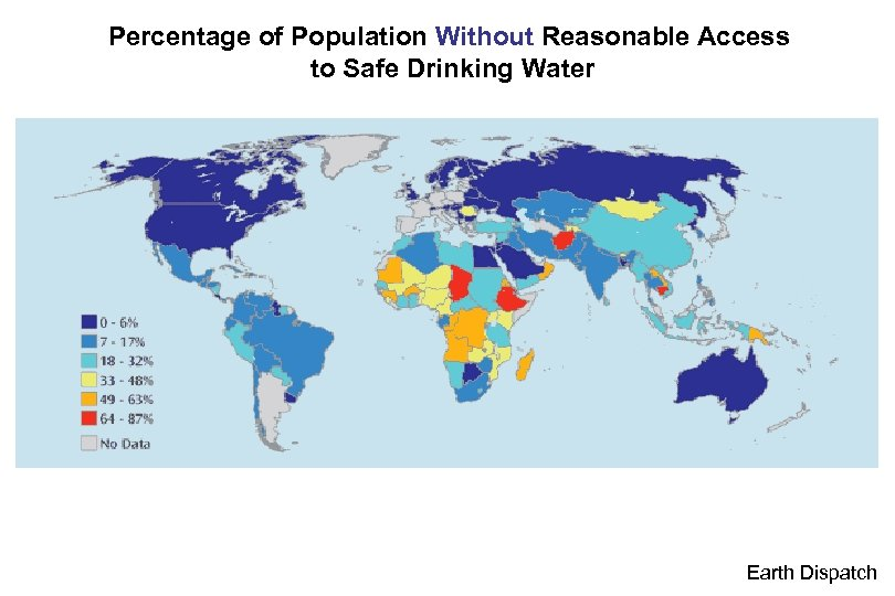 Percentage of Population Without Reasonable Access to Safe Drinking Water Earth Dispatch