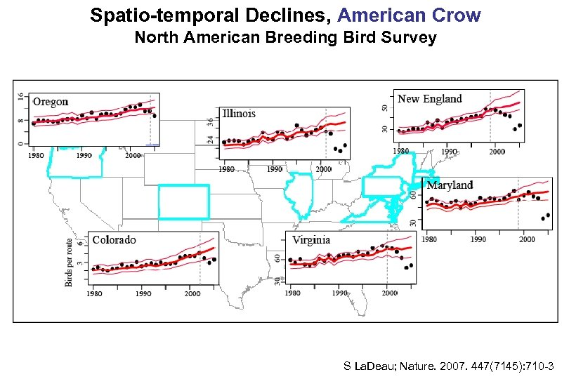 Spatio-temporal Declines, American Crow North American Breeding Bird Survey S La. Deau; Nature. 2007.