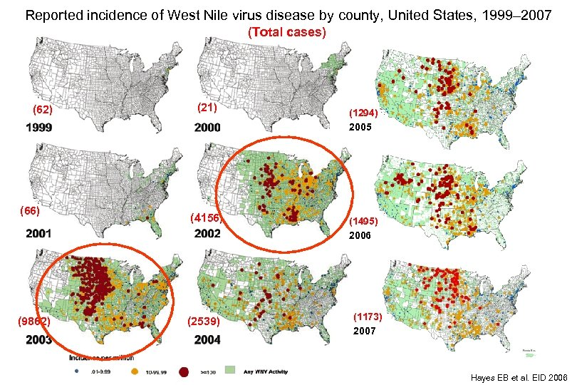 Reported incidence of West Nile virus disease by county, United States, 1999– 2007 (Total
