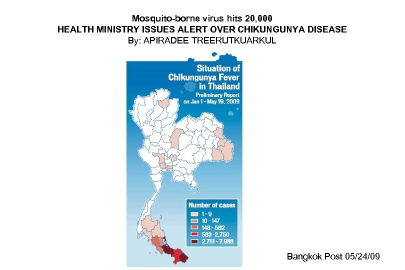 Mosquito-borne virus hits 20, 000 HEALTH MINISTRY ISSUES ALERT OVER CHIKUNGUNYA DISEASE By: APIRADEE