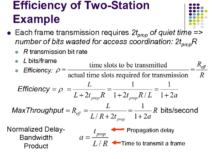 Efficiency of Two-Station Example l Each frame transmission requires 2 tprop of quiet time