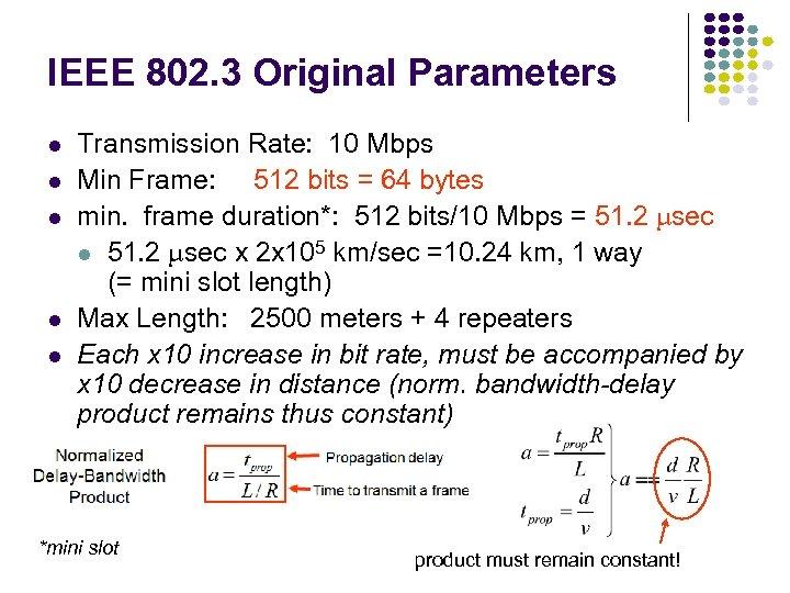 IEEE 802. 3 Original Parameters l l l Transmission Rate: 10 Mbps Min Frame: