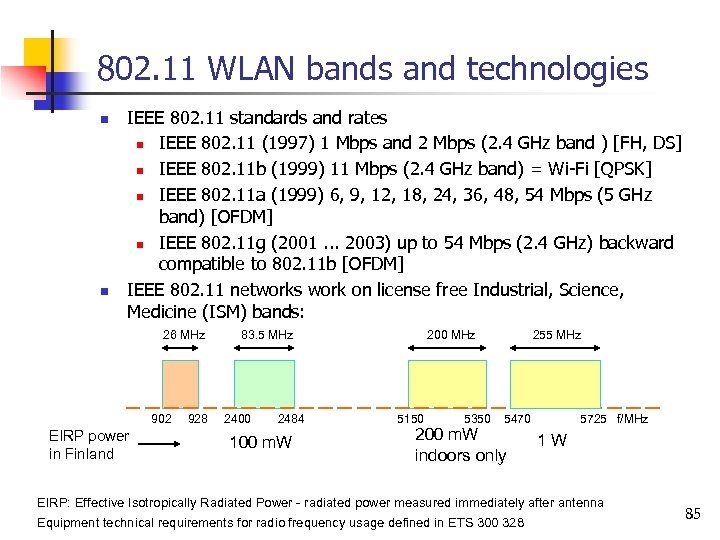 802. 11 WLAN bands and technologies n n IEEE 802. 11 standards and rates