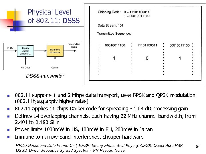 Physical Level of 802. 11: DSSS-transmitter n n n 802. 11 supports 1 and