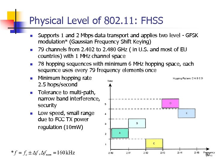 Physical Level of 802. 11: FHSS n n n Supports 1 and 2 Mbps
