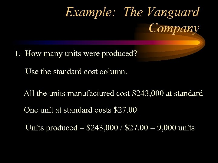 Example: The Vanguard Company 1. How many units were produced? Use the standard cost