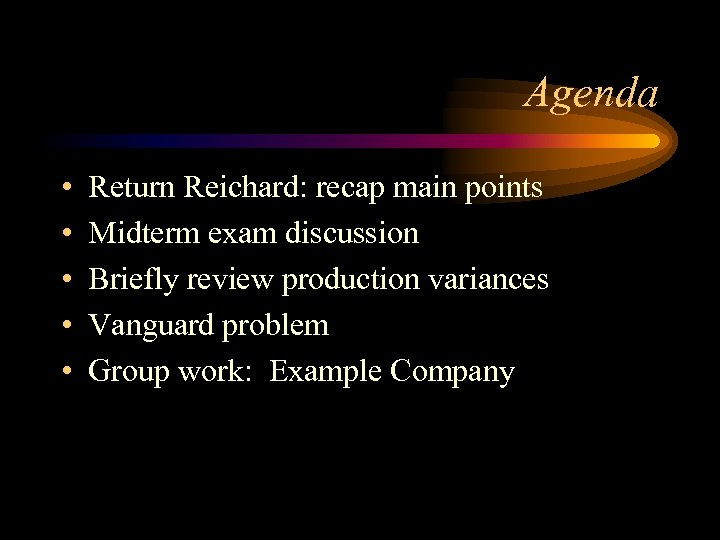 Agenda • • • Return Reichard: recap main points Midterm exam discussion Briefly review
