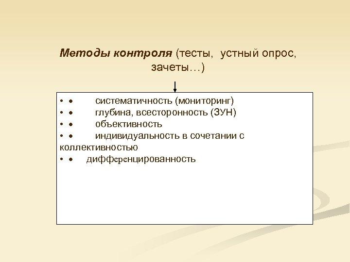 Методы контроля (тесты, устный опрос, зачеты…) • · систематичность (мониторинг) • · глубина, всесторонность