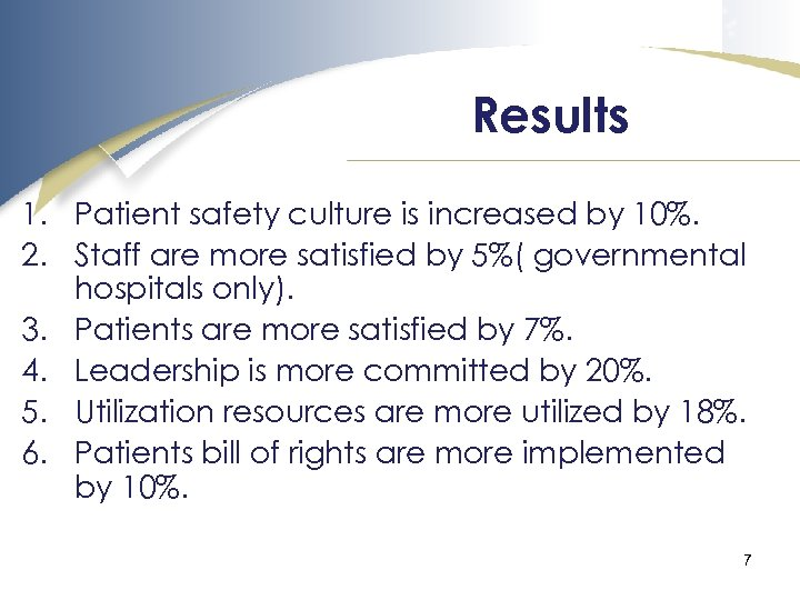Results 1. Patient safety culture is increased by 10%. 2. Staff are more satisfied