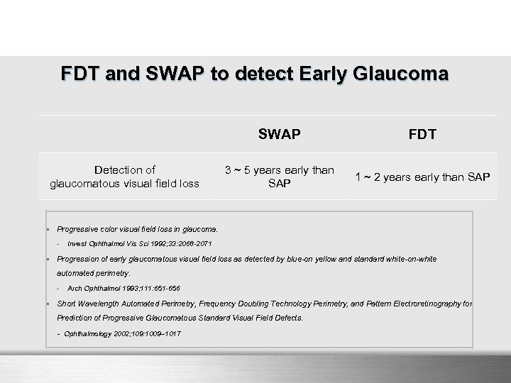 FDT and SWAP to detect Early Glaucoma SWAP Detection of glaucomatous visual field loss