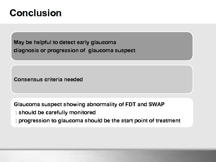 Conclusion May be helpful to detect early glaucoma diagnosis or progression of glaucoma suspect