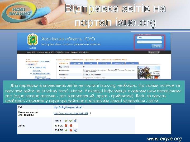 Відправка звітів на портал isuo. org Для перевірки відправлених звітів на порталі isuo. org,