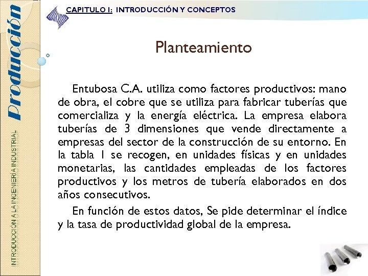 Producción CAPITULO I: INTRODUCCIÓN Y CONCEPTOS Planteamiento Entubosa C. A. utiliza como factores productivos: