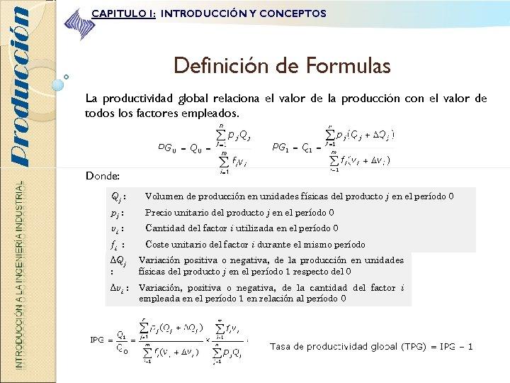 Producción CAPITULO I: INTRODUCCIÓN Y CONCEPTOS Definición de Formulas La productividad global relaciona el