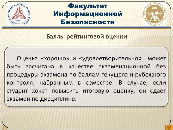 Факультет Информационной Безопасности Баллы рейтинговой оценки 11
