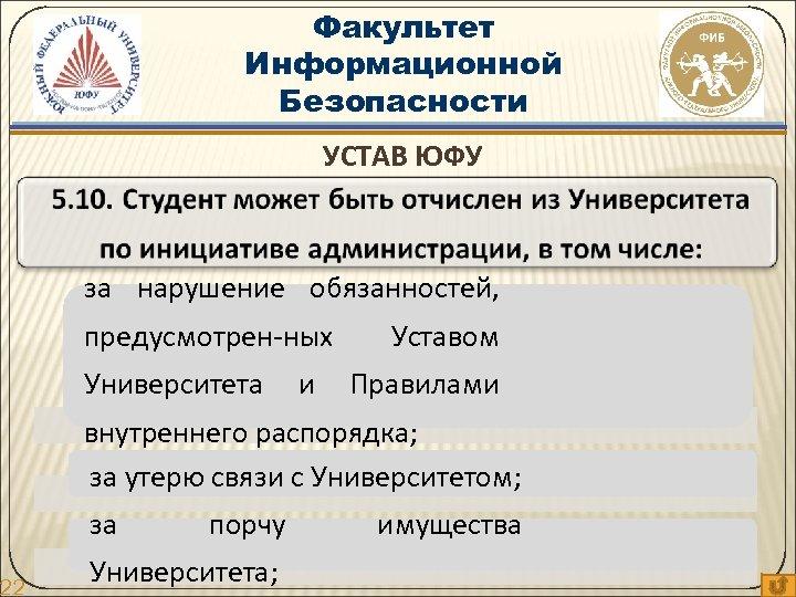 22 Факультет Информационной Безопасности УСТАВ ЮФУ за нарушение обязанностей, предусмотрен-ных Университета и Уставом Правилами