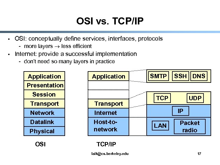 OSI vs. TCP/IP § OSI: conceptually define services, interfaces, protocols - more layers less