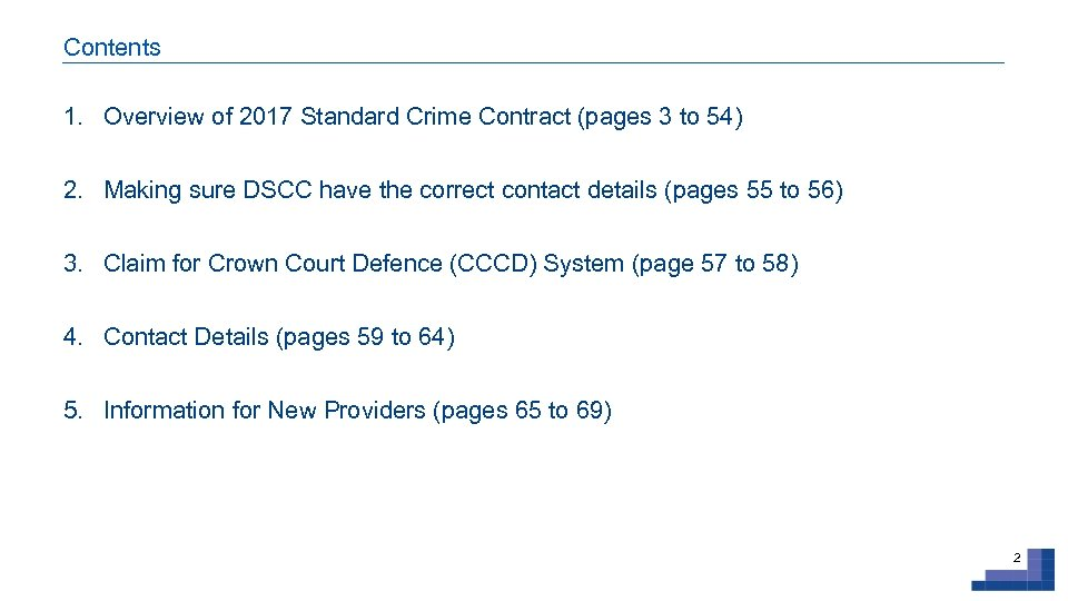 Contents 1. Overview of 2017 Standard Crime Contract (pages 3 to 54) 2. Making