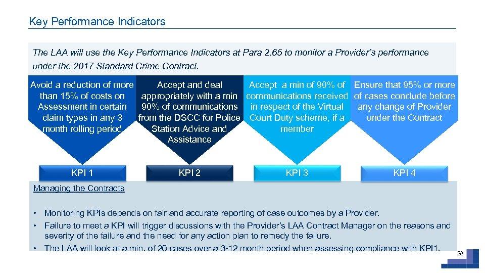 Key Performance Indicators The LAA will use the Key Performance Indicators at Para 2.