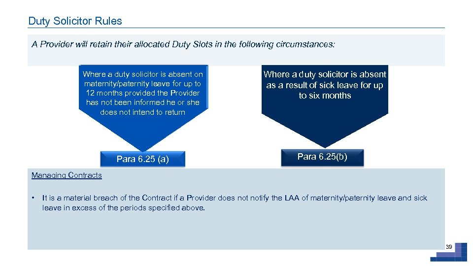 Duty Solicitor Rules A Provider will retain their allocated Duty Slots in the following