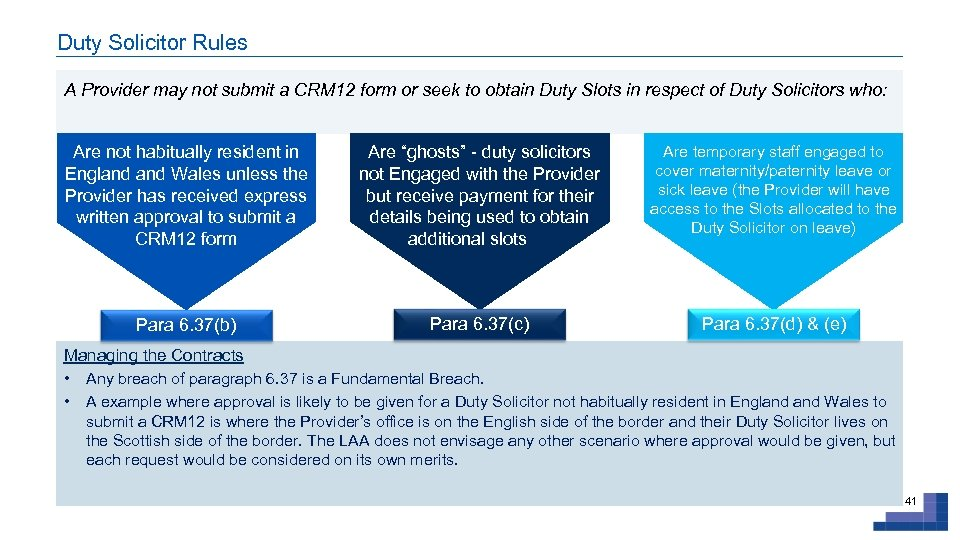 Duty Solicitor Rules A Provider may not submit a CRM 12 form or seek