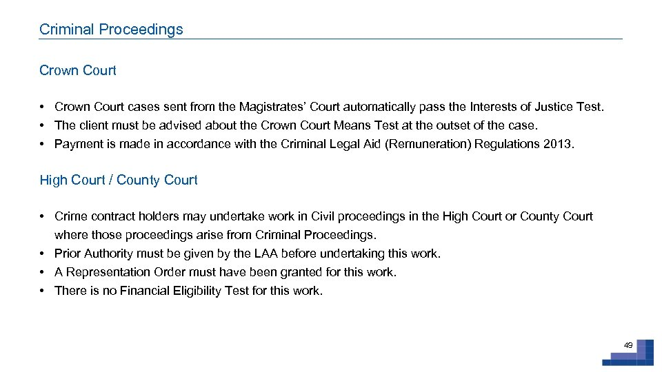 Criminal Proceedings Crown Court • Crown Court cases sent from the Magistrates' Court automatically