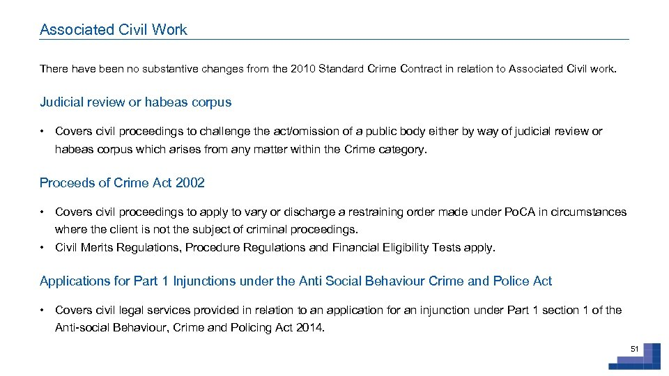Associated Civil Work There have been no substantive changes from the 2010 Standard Crime