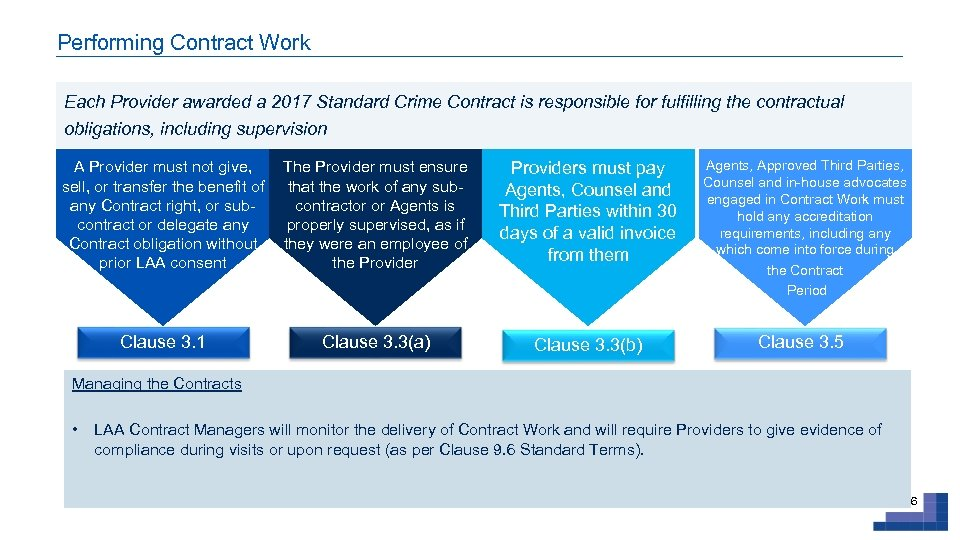Performing Contract Work Each Provider awarded a 2017 Standard Crime Contract is responsible for