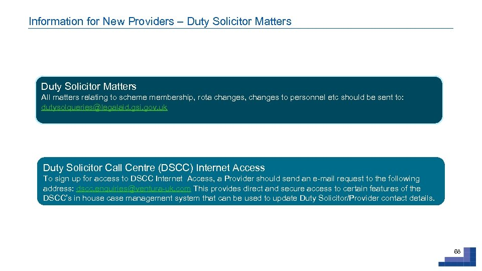 Information for New Providers – Duty Solicitor Matters All matters relating to scheme membership,