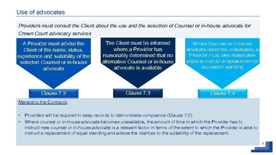 Use of advocates Providers must consult the Client about the use and the selection
