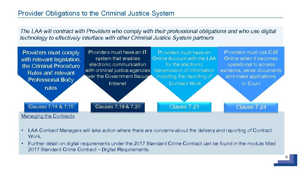 Provider Obligations to the Criminal Justice System The LAA will contract with Providers who
