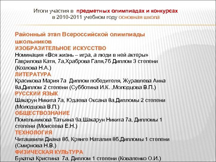 Итоги участия в предметных олимпиадах и конкурсах в 2010 -2011 учебном году основная школа