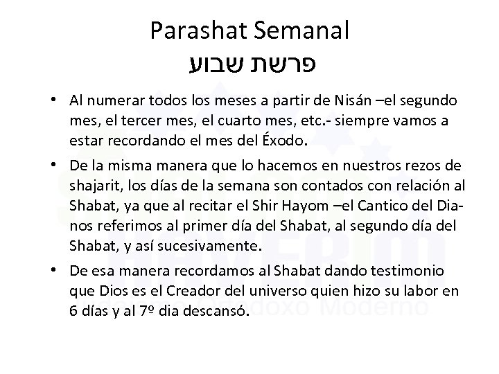 Parashat Semanal פרשת שבוע • Al numerar todos los meses a partir de Nisán