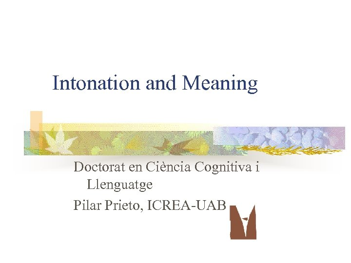 Intonation and Meaning Doctorat en Ciència Cognitiva i Llenguatge Pilar Prieto, ICREA-UAB