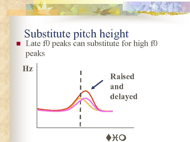 Substitute pitch height n Late f 0 peaks can substitute for high f 0