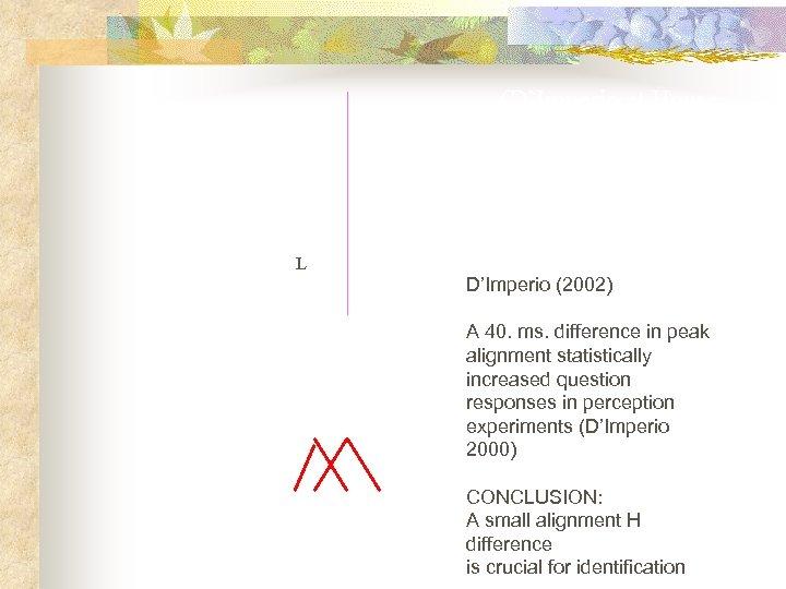 (D'Imperio et House, 1997; D'Imperio, 2000) H original H L L D'Imperio (2002) 40