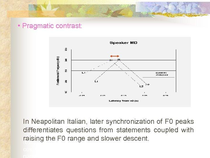 • Pragmatic contrast: (D'Imperio, 2000) In Neapolitan Italian, later synchronization of F 0