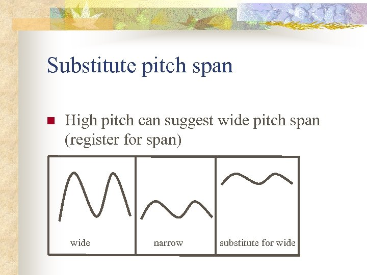 Substitute pitch span n High pitch can suggest wide pitch span (register for span)