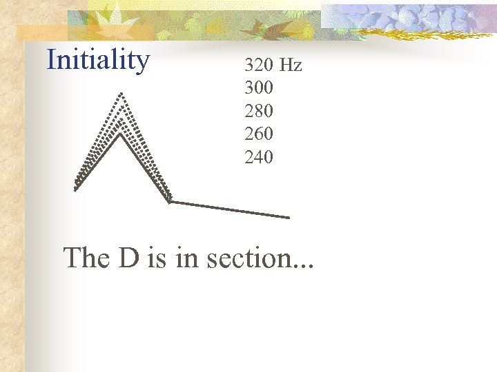 Initiality 320 Hz 300 280 260 240 The D is in section. . .