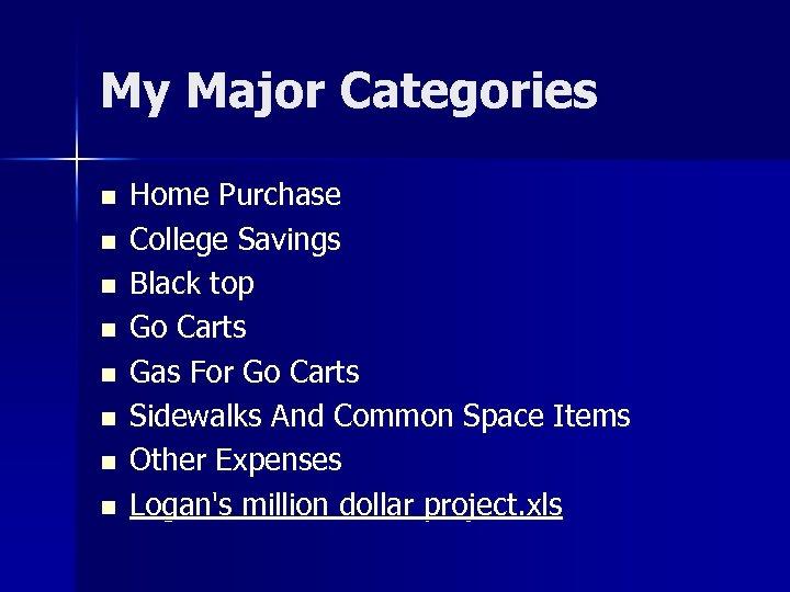 My Major Categories n n n n Home Purchase College Savings Black top Go
