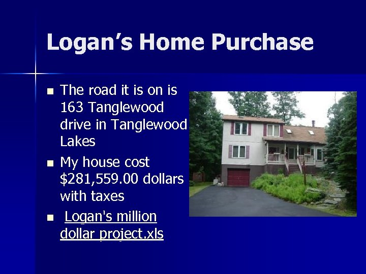 Logan's Home Purchase n n n The road it is on is 163 Tanglewood