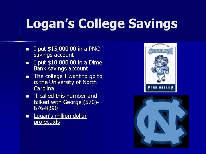 Logan's College Savings n n n I put $15, 000. 00 in a PNC