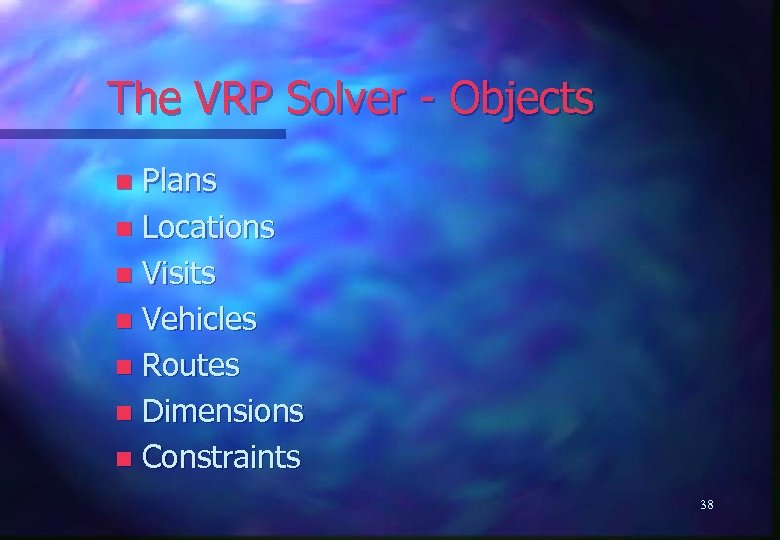 The VRP Solver - Objects Plans n Locations n Visits n Vehicles n Routes